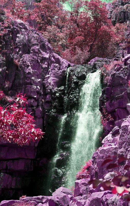 Beautiful waterfall in Katherine Gorge, Australia, pink ...