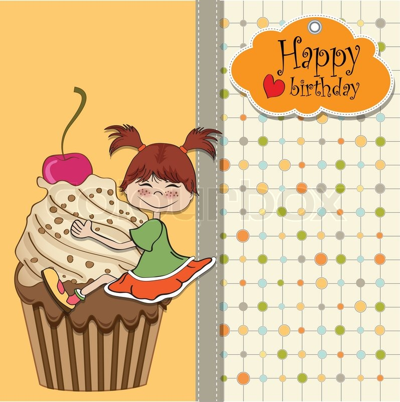 Birthday card with funny girl perched on cupcake – Funny Girl Birthday Cards