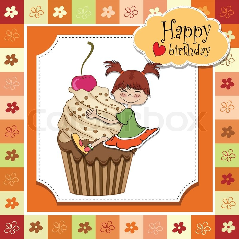 Birthday Card With Funny Girl Perched On Cupcake Stock Vector