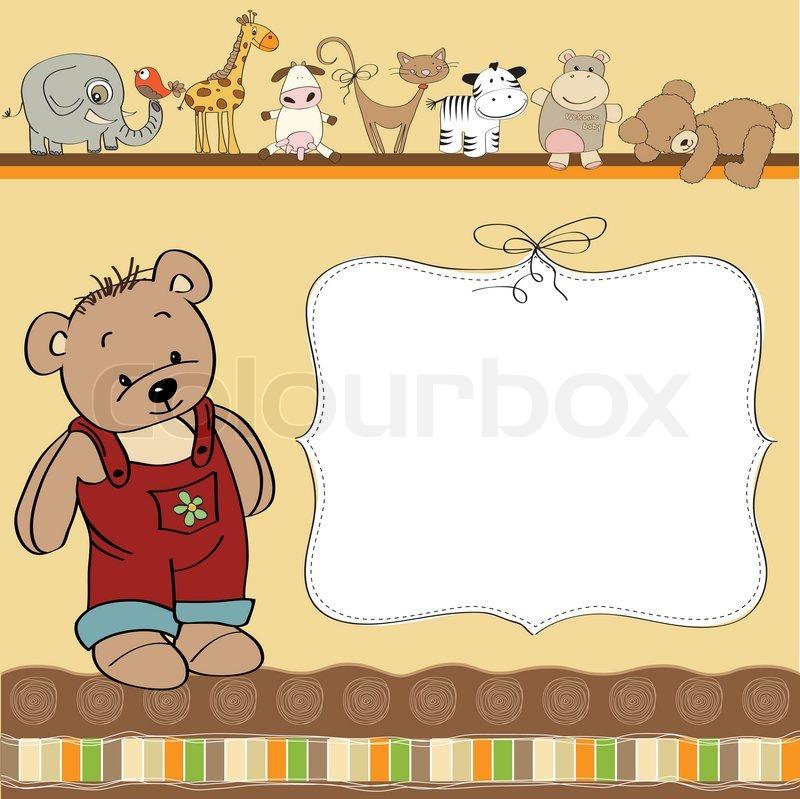 stock vector of birthday greeting card with teddy bear