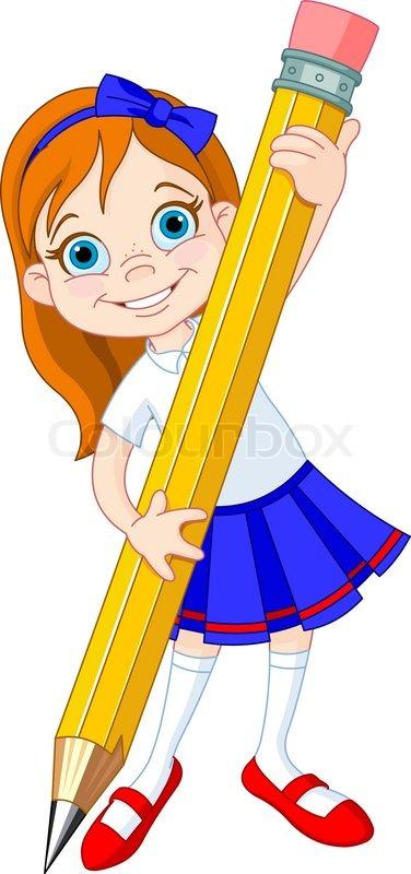 girl holding pencil stock vector colourbox uniform clipart images uniform clipart drawing