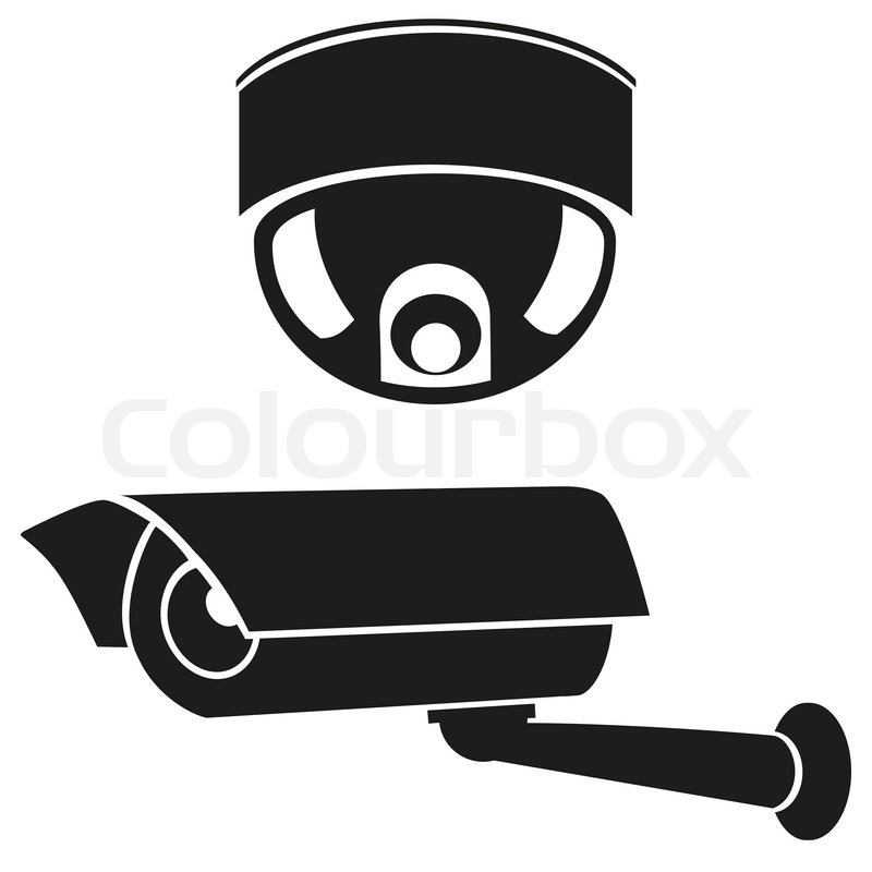 Black And White Icons Of Surveillance Cameras Stock