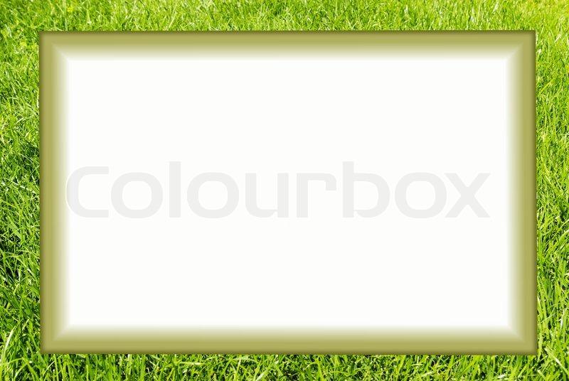White Frame On A Green Background Stock Photo Colourbox