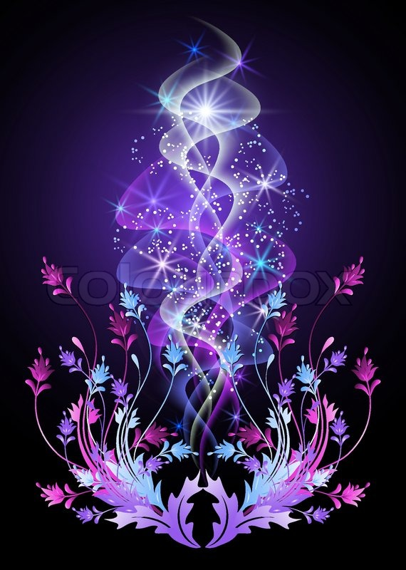 Glowing Background With Flowers And Stars Stock Vector