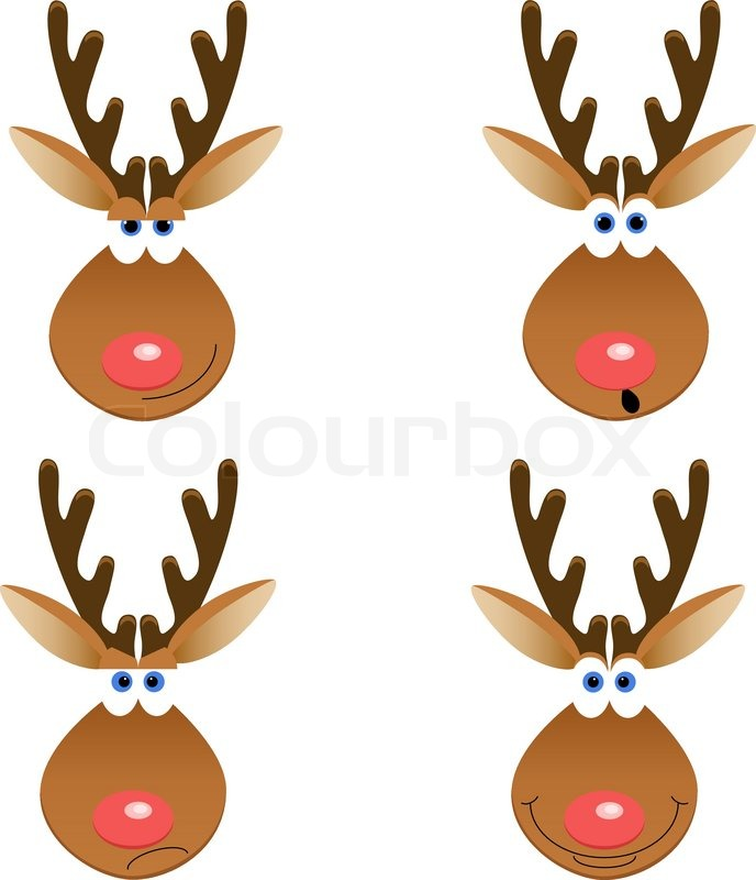 A set of four Christmas deer faces with different emotions  Stock