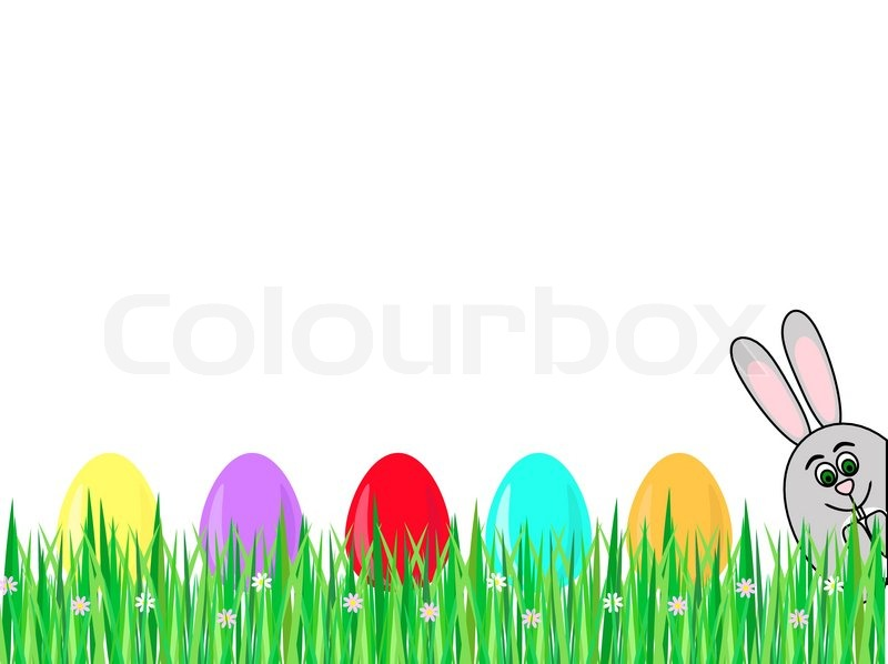 A Row Of Colored Easter Eggs On Grass And Rabbit