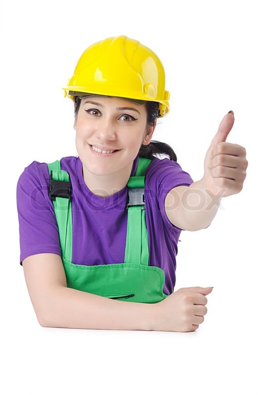 woman worker with hardhat on white stock photo colourbox