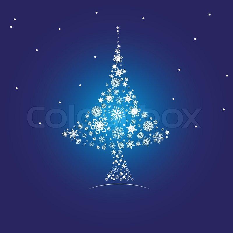 Weihnachtsbaum aus schneeflocken vektorgrafik colourbox