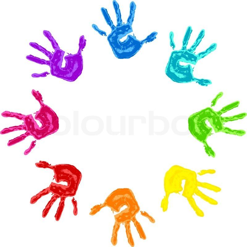 Das Zeichen des Friedens und der Freundschaft - bunte palm ...