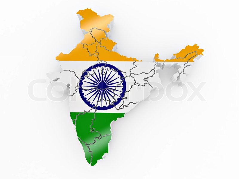 India Flag Colors: Map Of India In Indian Flag Colors