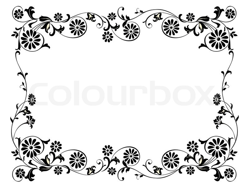 Design frame with with black swirling decorative floral ...