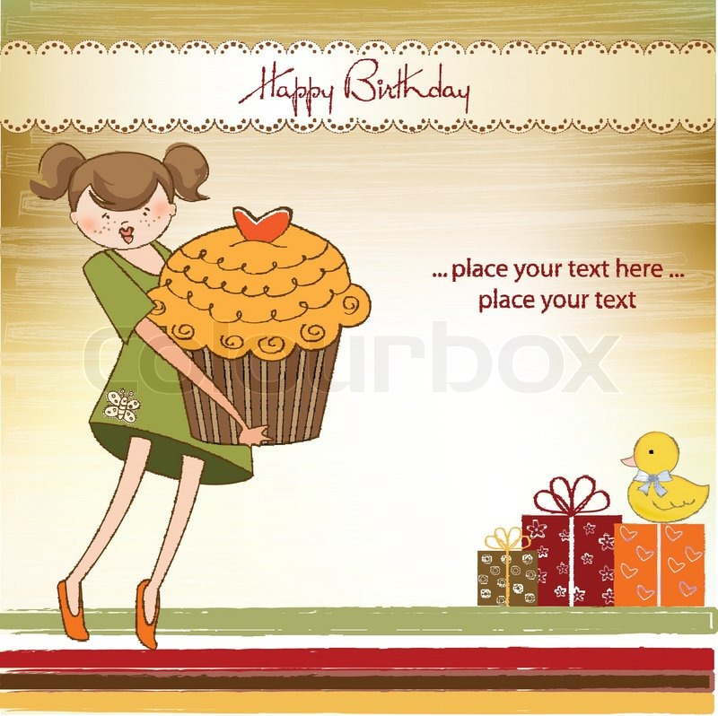 Happy birthday card with girl and cupcake stock vector colourbox happy birthday card with girl and cupcake vector bookmarktalkfo Gallery