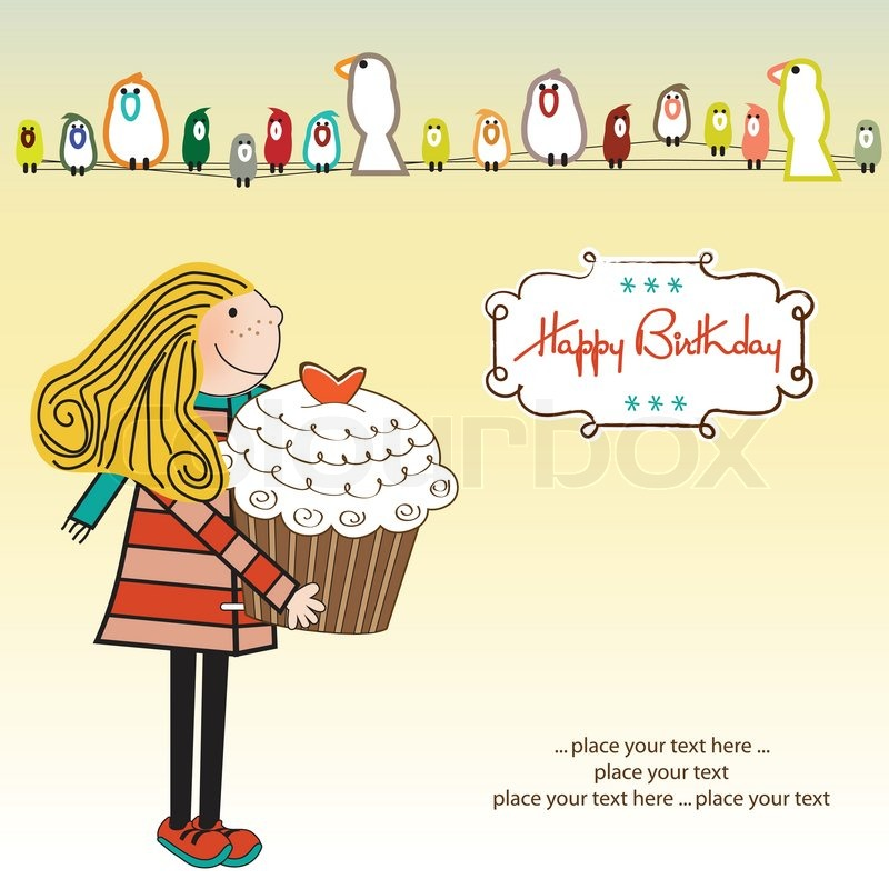 happy birthday card with girl and cupcake stock vector colourbox - Birthday Card Art