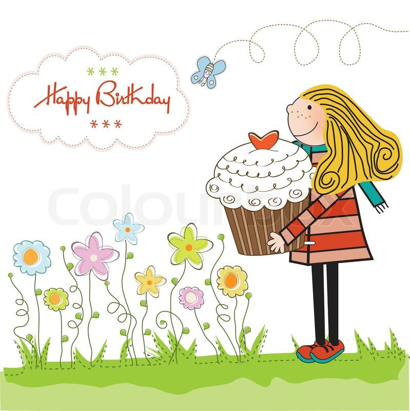 Happy Birthday Card With Girl And Cupcake Stock Vector Colourbox