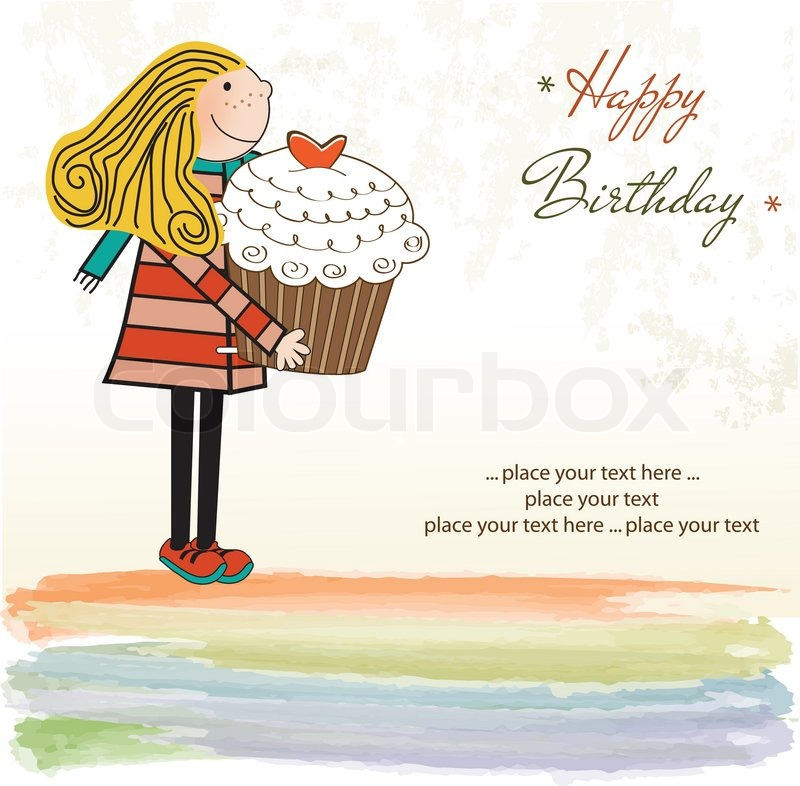 Happy Birthday card with girl and cupcake Vector – Happy Birthday Card for Women