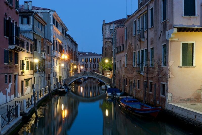 Canal in Venice, Italy at night | Stock Photo | Colourbox