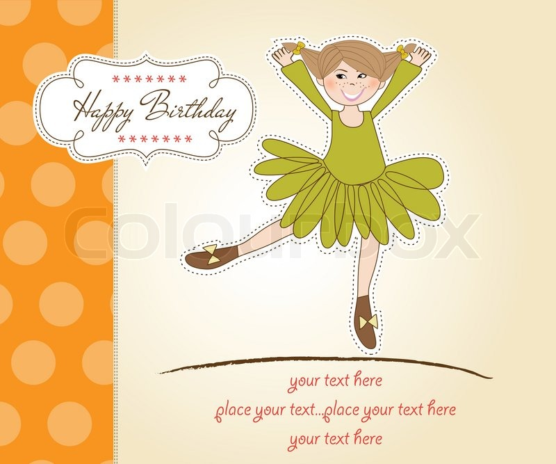 Sweet Girl Birthday Greeting Card Stock Vector Colourbox