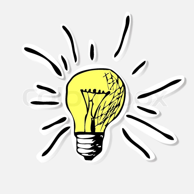 Conceptual Hand Drawn Representation Of An Idea Or Inspiration With Incandescent Lightbulb Vector Illustration