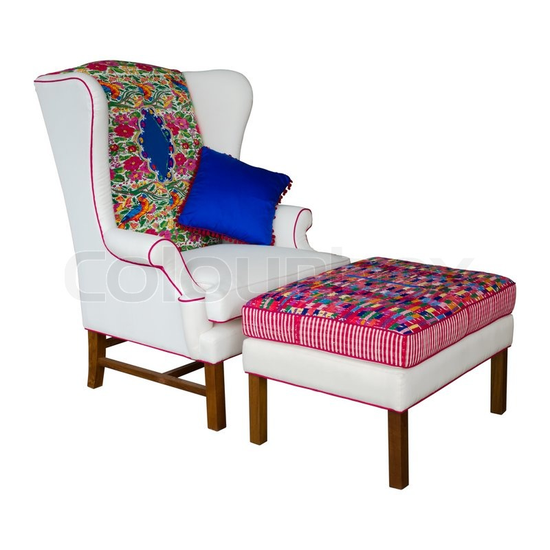 wei e stoff sessel und hocker stockfoto colourbox. Black Bedroom Furniture Sets. Home Design Ideas