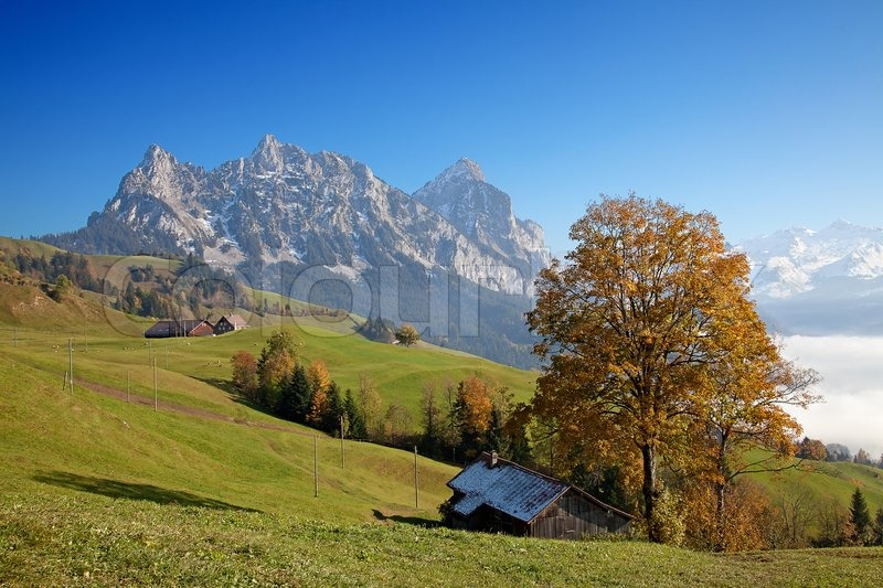 Autumn in alps stock photo colourbox - Impressive house with tranquil environment to get total relaxation ...