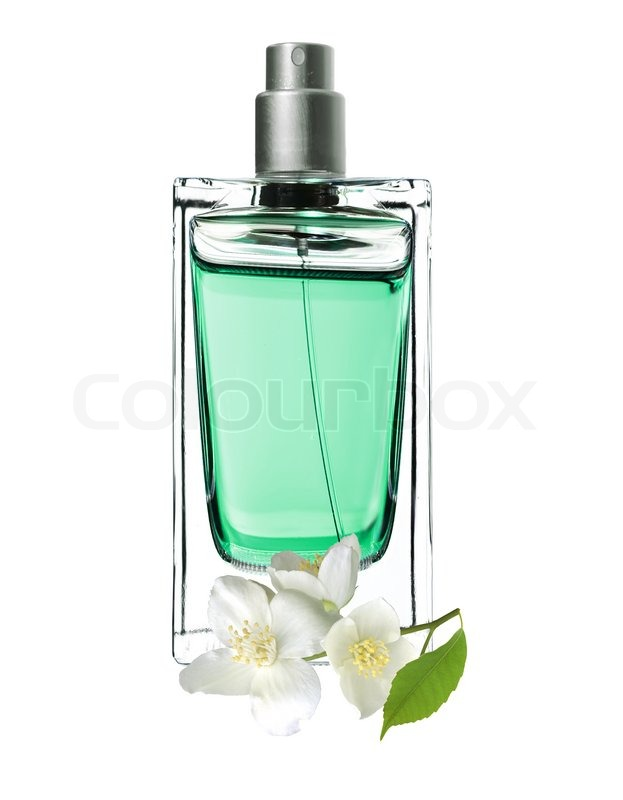 Picture Jasmine Flower on Perfume In Beautiful Bottle And Jasmine Flowers Isolated Stock Photo