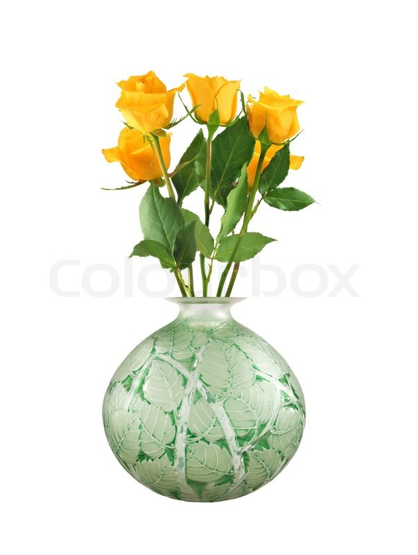 Beautiful Yellow Roses In Vase Isolated On White Stock Photo