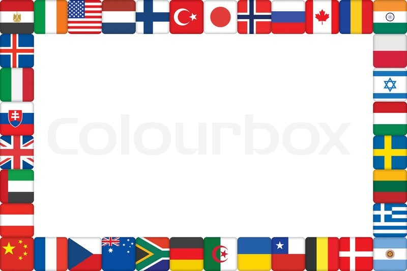 Frame made of world flag icons vector illustration | Stock Vector ...