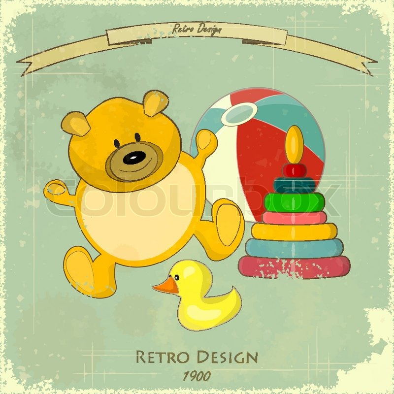 vintage design baby karte altes spielzeug auf blauem hintergrund retro vektor illustration. Black Bedroom Furniture Sets. Home Design Ideas