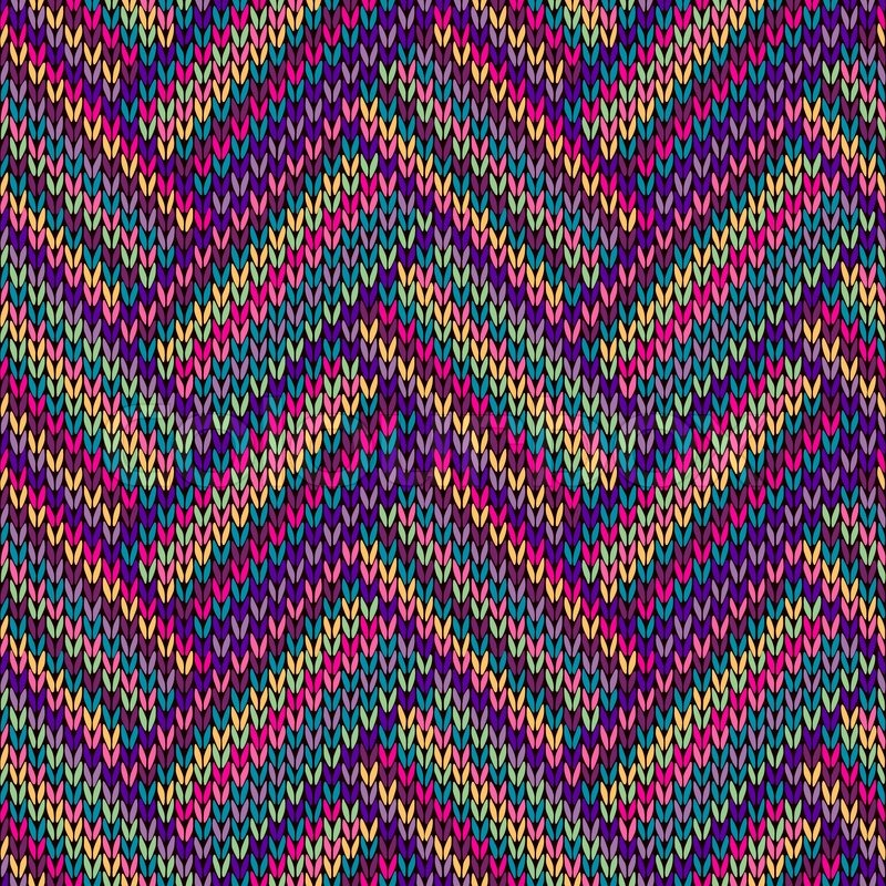Multicolored Seamless Funny Knitted Pattern Stock Vector