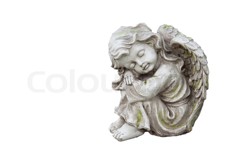 Sculpture Of Mourning Angel Isolated On White Stock