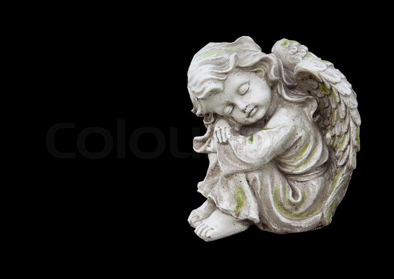 skulptur von trauer engel isoliert auf schwarz stockfoto colourbox. Black Bedroom Furniture Sets. Home Design Ideas