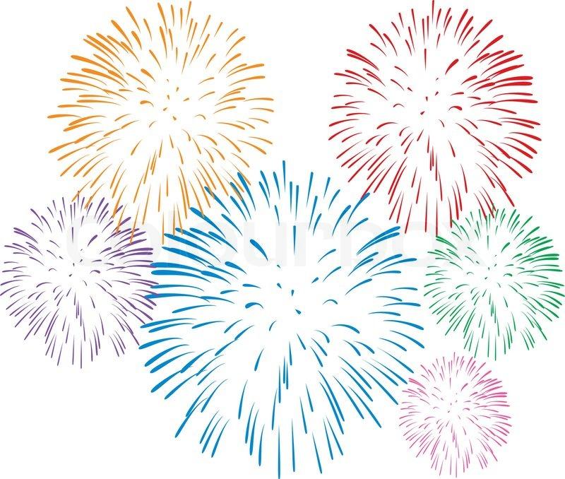 Vektor bunten Feuerwerk auf weißem Hintergrund | Stock ...