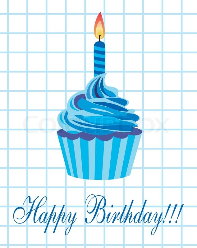 Vector birthday cupcake with burning candle Stock Vector Colourbox