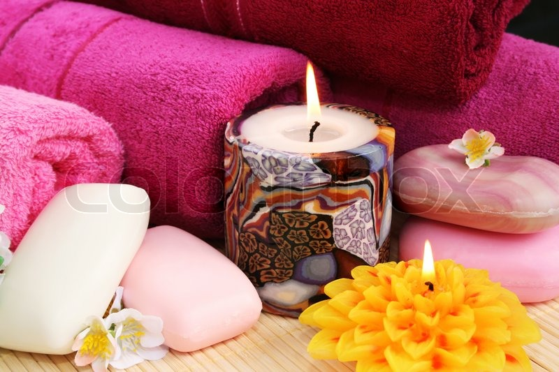Towels, soaps, flowers, candles | Stock Photo | Colourbox