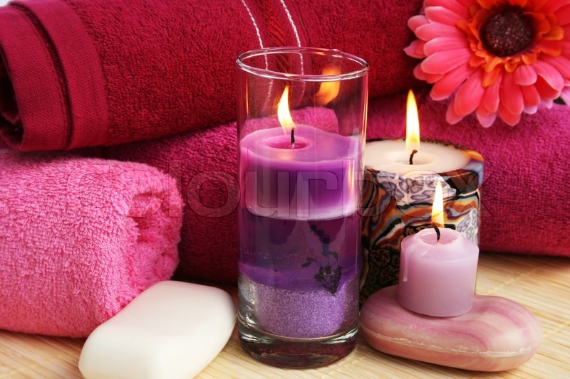 Towels Soaps Flowers Candles Stock Photo Colourbox