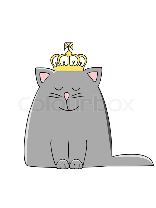 a cute grey smiling cat with a crown on his head stock