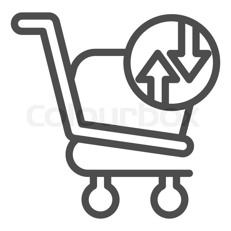 Shopping Basket With Arrows Line Icon Stock Vector Colourbox