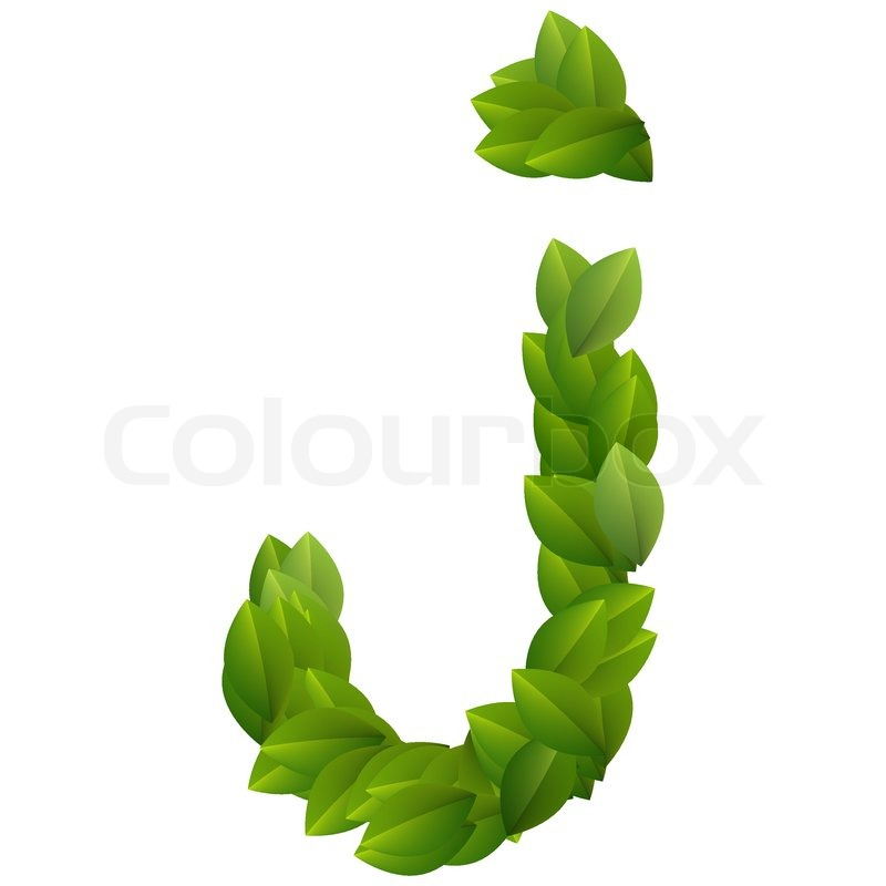 Letter J of green leaves alphabet | Stock Vector | Colourbox