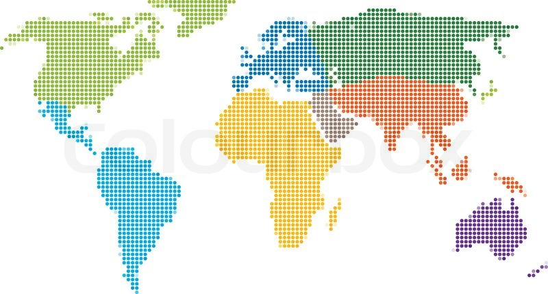 Dot style world map with continents stock vector colourbox dot style world map with continents vector gumiabroncs Choice Image