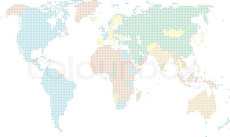 Dot style world map with continents stock vector colourbox dot style world map with continents vector gumiabroncs Gallery
