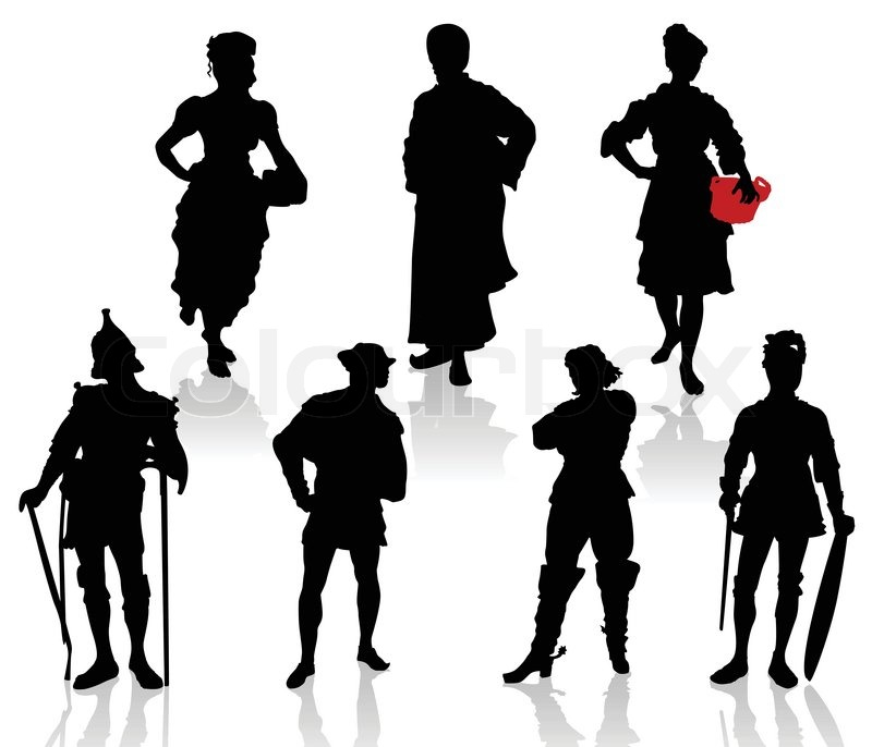silhouettes of the actors in theatrical costumes stock