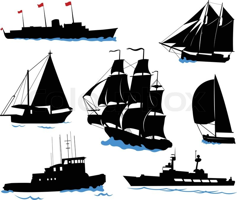 Silhouettes of offshore ships - yacht, fishing boat, the warship. | Stock Vector | Colourbox