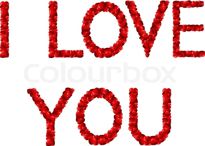 Words «I love you» in English made of red hearts | Stock Vector ...