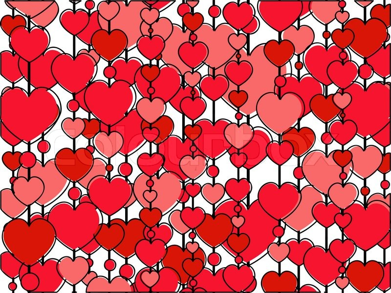 Frame made of vertical heart rows on the white background ...