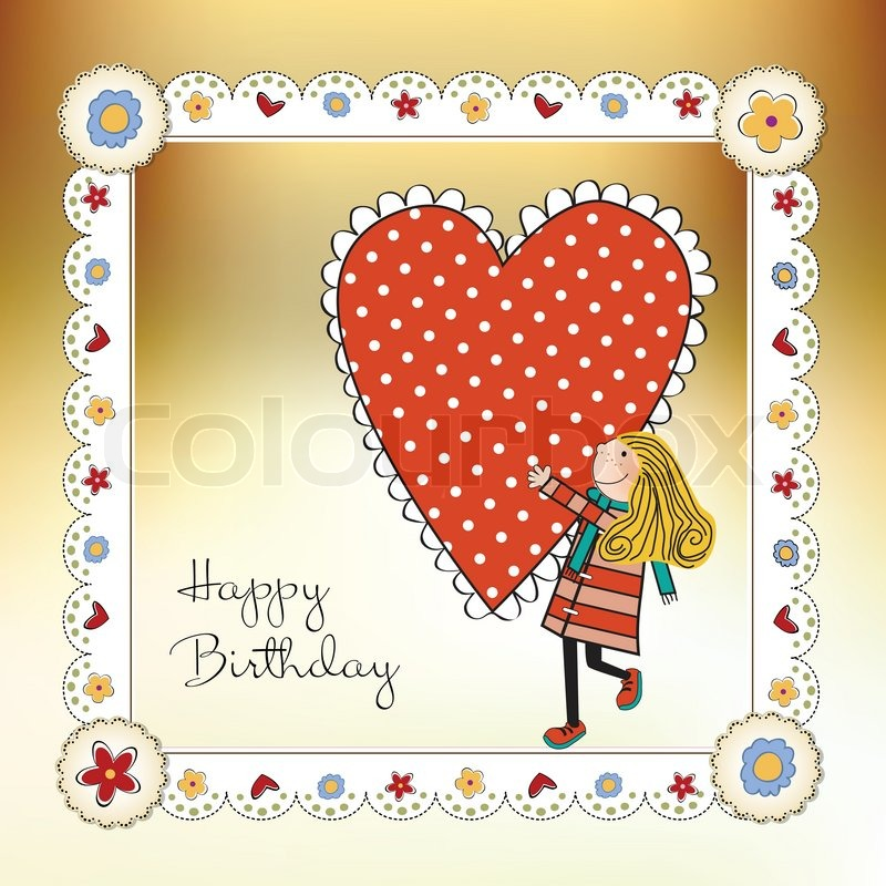 Happy Birthday Card With A Girl Stock Vector Colourbox