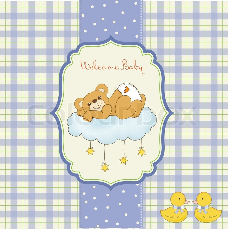 Baby Shower Wiki: New Baby Shower Card With Spoiled Teddy Bear
