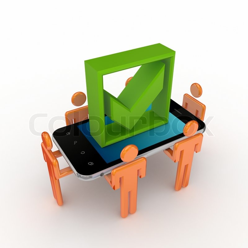 3d small people mobile phone and green tick mark stock photo colourbox