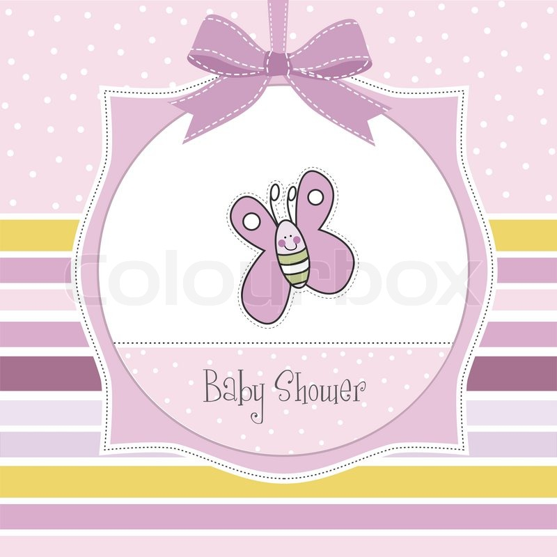 Baby shower invitation with butterfly | Stock Vector | Colourbox