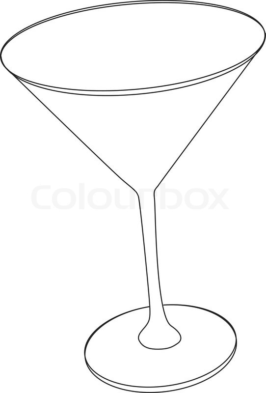Line Drawing Glasses : Vector illustration of cocktail glass stock