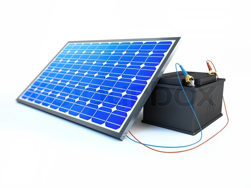 solar panel charges the battery stock photo colourbox. Black Bedroom Furniture Sets. Home Design Ideas